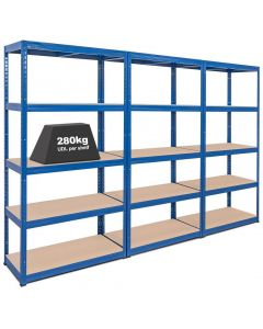 3x Storalex VRS Heavy Duty Industrial Shelving - 280kg - Blue