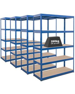 4x Storalex VRS Heavy Duty Industrial Shelving - 280kg - Blue
