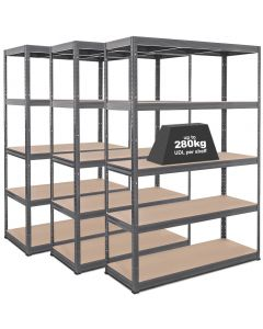 3x Storalex VRS Heavy Duty Industrial Shelving - 280kg - Grey
