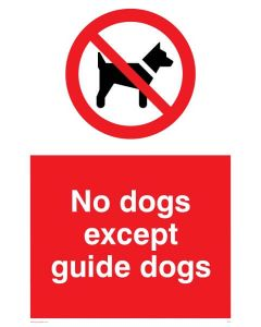 No Dogs Except Guide Dogs - Prohibition Sign