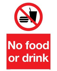 No Food and Drink - Prohibition Sign