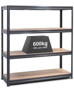 1x Storalex HRX Super Heavy Duty Industrial Shelving - 600kg - Grey