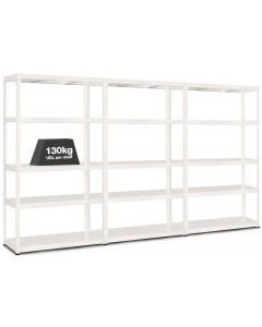 3x MT130 Metal Industrial Shelving - 130kg - White