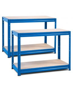 2x Storalex HRX Workbench - Chipboard - 600kg - Blue