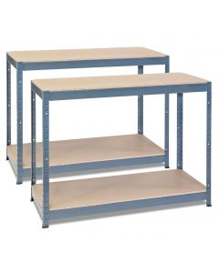 2x Storalex CRW Workbenches - Chipboard - 400kg - Grey