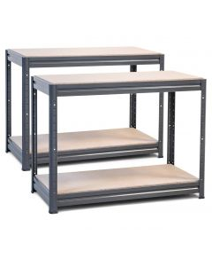 2x Storalex HRX Workbenches - Chipboard - 600kg - Grey