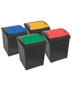 Pack of 4 Recycling Bins with Flip Lids - Multibuy Offer