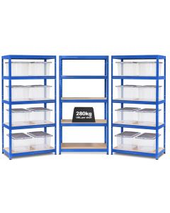 3x Storalex VRS Shelving - Blue with 35L Wham Plastic Storage Boxes