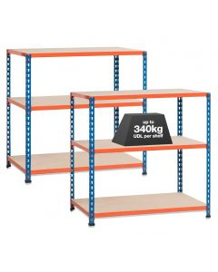 2x SX340 Workbenches - 340kg - Chipboard - Blue/Orange