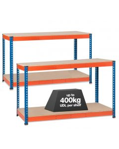 2x SX400 Workbenches - 400kg - Chipboard - Blue/Orange