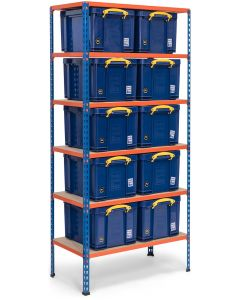 Storalex SX200 Bay - 1830h x 915w x 455d - 200kg UDL - Blue & Orange - with 10 x 35L Solid Blue Really Useful Boxes