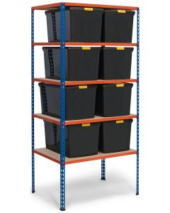 Storalex SX340 Bay - 1980h x 915w x 610d - 340kg UDL - Blue & Orange - with 8 x 62L Black DIY Boxes