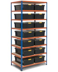 Storalex SX200 Bay - 18300h X 915w X 610d - 200KG UDL - Blue & Orange - With 14 x 30L DIY Wham Boxes