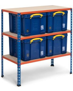 Storalex SX340 Workbench 915h x 915w x 455d - 340kg UDL - Blue & Orange - with 4 x 35L Solid Blue Really Useful Boxes