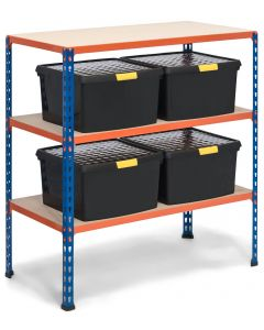 Storalex SX340 Workbench - 915h x 915w x 455d - 340kg UDL - Blue & Orange - with 4 x 25.5L Black DIY Boxes