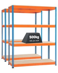 Pack of 2 Storalex SX400 Bays - 1677h x 1220w (2 Depths) - 4 Levels - Blue & Orange