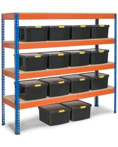 Storalex SX400 Shelving Bay - 1677h x 1830w x 455d - 400kg UDL - Blue & Orange - with 14x 25.5L Black DIY Wham Boxes - Free Rubber Mallet