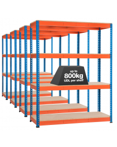 Pack of 4 STORALEX SX800 BAYS - 1980MM HIGH - (3 WIDTHS & DEPTHS) - UP TO 800KG UDL - 3/4/5 LEVELS