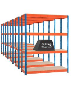 5x Storalex SX400 Industrial Shelving 1980mm 400kg Chipboard Blue/Orange
