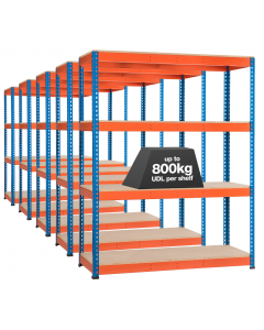 Pack of 5 STORALEX SX800 Bays - 2440mm High - (3 Widths & Depths) - up to 800kg UDL - 3/4/5 Levels