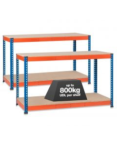 2x SX800 Workbenches - 800kg - Chipboard - Blue/Orange