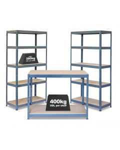 Business Bundle - 2x VRS Industrial Shelving Units - 280kg & Workbench - Grey