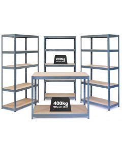 Business Bundle - 3x VRS Industrial Shelving Units - 280kg & Workbench - Grey