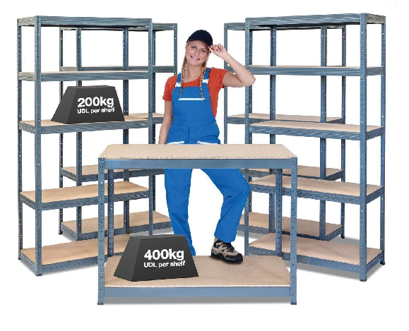 Industrial Shelving and Workbench Bundle